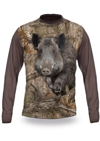 Wild Boar Runs 3D T-Shirt Long Sleeve